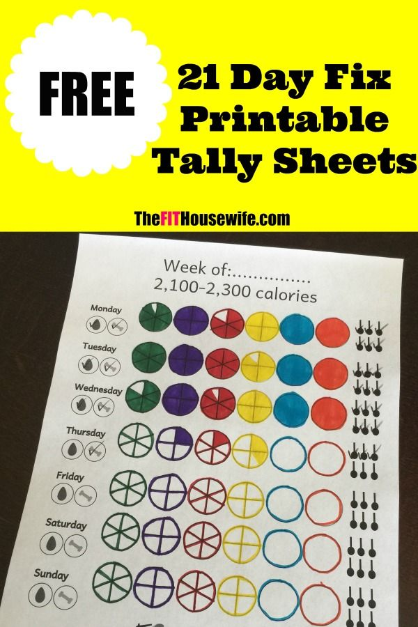 It is a photo of Smart 21 Day Fix Tally Sheets Printable