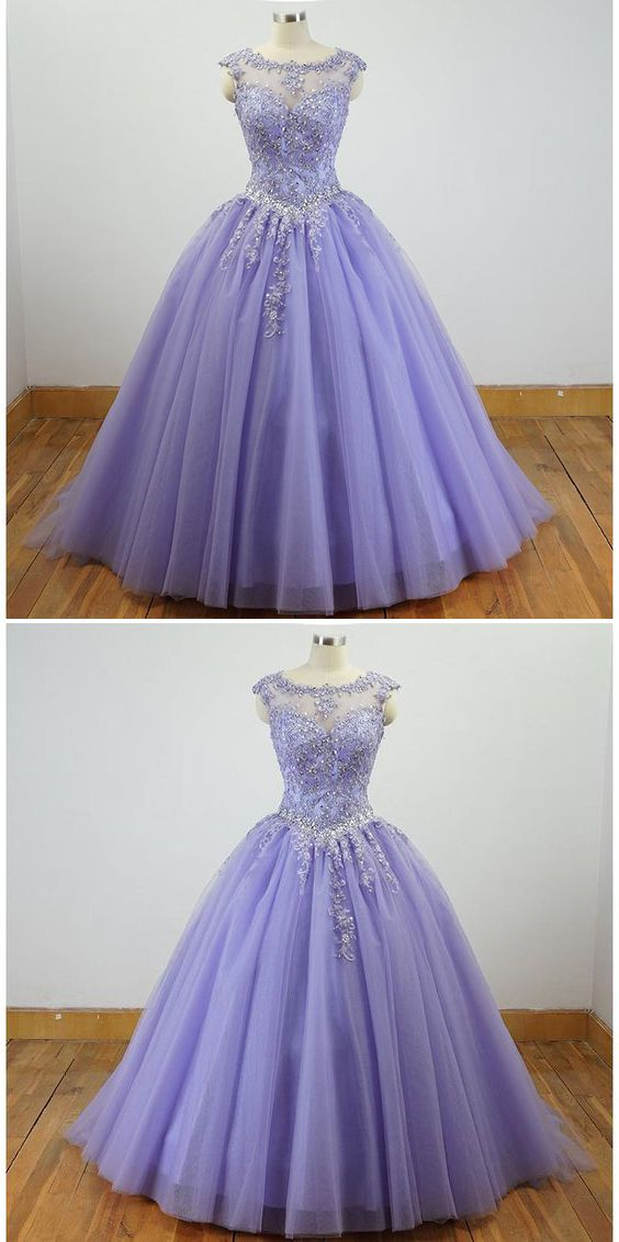fadeb5b673 Gorgeous Cap Sleeves Lavender Ball Gown Quinceanera Dresses lace Appliqued