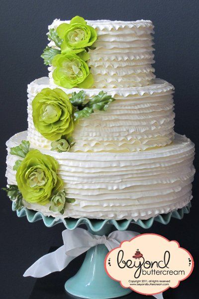 Pale Lime Green Buttercream Wedding Cakes