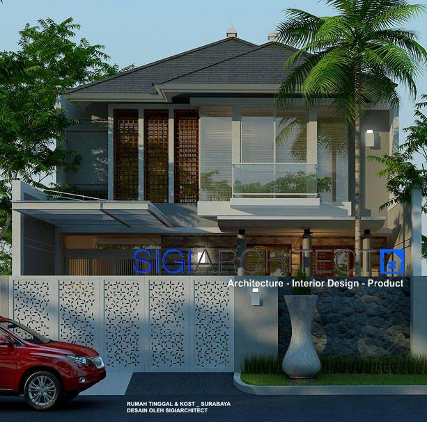 Pengembangan rumah 2 lantai dengan merubah tampilan fasad depan plus atap serta rumah kost di area belakang, Desain Rumah Tumbuh Rumah Minimalis
