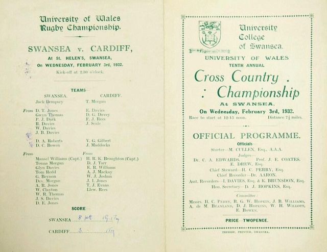 Welsh Varsity programme, 1932 (from the Swansea University archives, open to all)