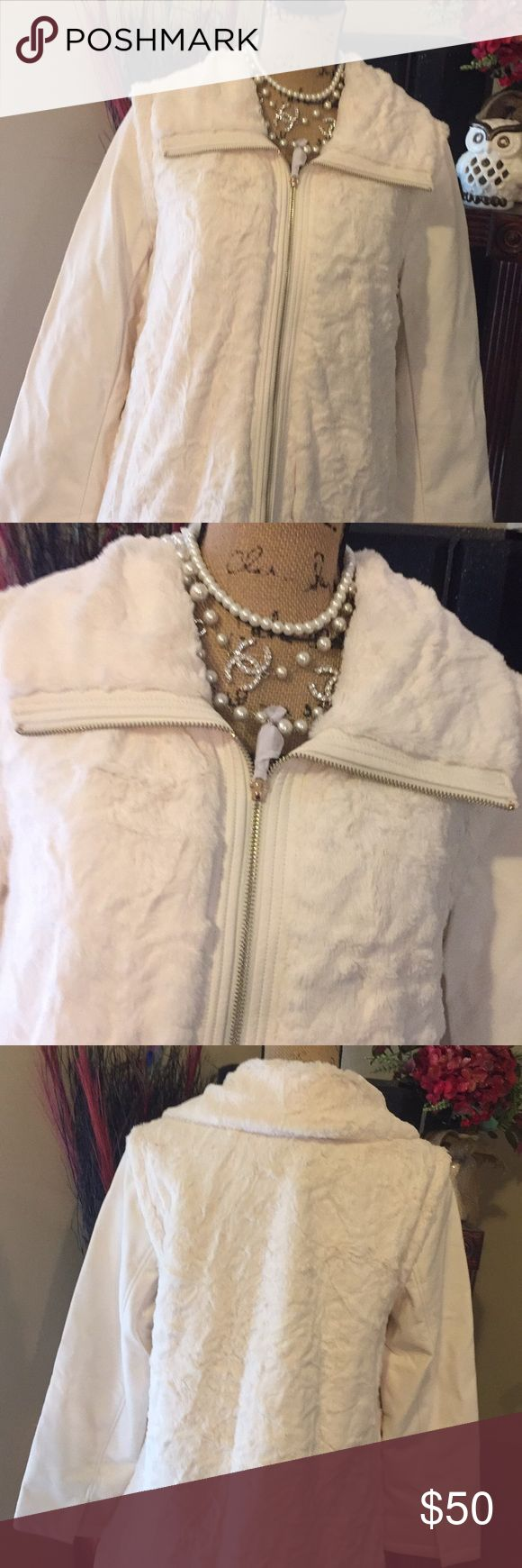 NWT COAT OR VEST💋CHANEL NECKLACE NOT INCLUDED# NWT BEAUTIFUL, Fake fur and soft leather! The sleeves,will unzip inside to change your whole look to a casual vest! 2 LOOKS IN 1🙀NWT, QVC dennis by dennis basco QVC Jackets & Coats Vests