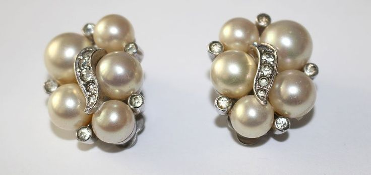 #3273 Jomaz Faux Pearl & Rhinestone Earrings Elegant Exclusively at Lee Caplan Vintage Collection