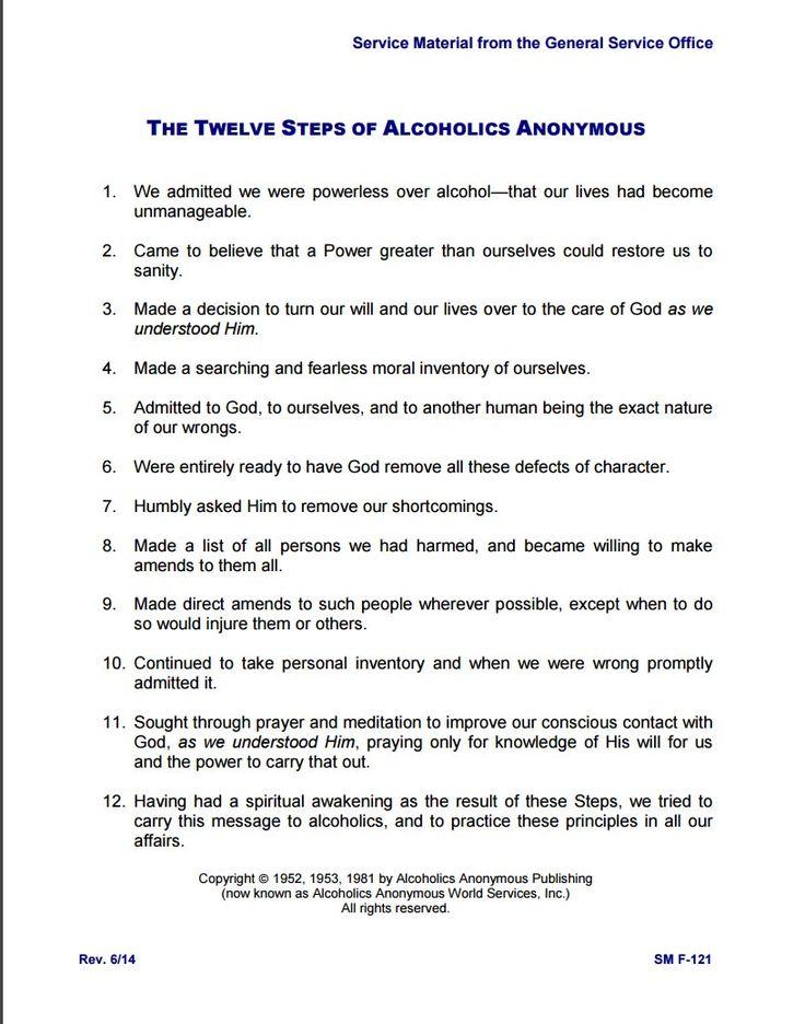 Printable Worksheets alcoholics anonymous 12 step worksheets : Más de 25 ideas increíbles sobre Aa 12 steps en Pinterest ...
