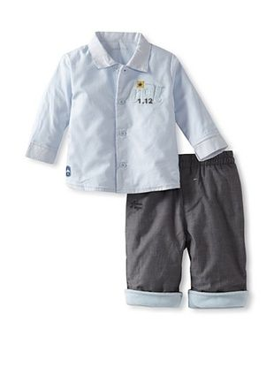 61% OFF Sucre d'Orge Baby Two Piece Top and Pants Set (Gris/Ciel)