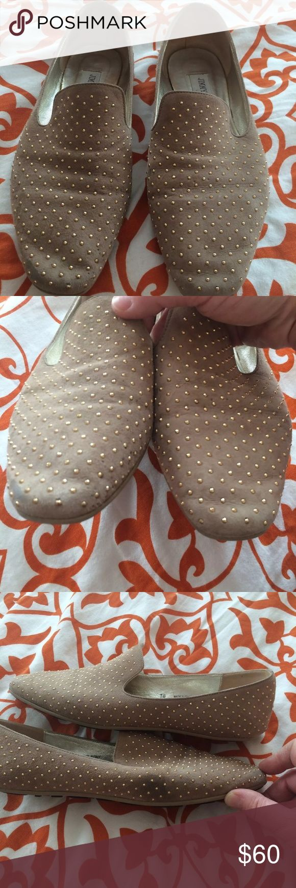 Jimmy Choo studded smoking slipper shoes Beige jimmy choo smoking slippers with gold studs. The soles are in excellent condition.  The shoes have a scuff mark on the right shoe by the little toe area. See pic. The fronts also have slight scuffing but it's in light color so they blend in. Size 38 in European. Jimmy Choo Shoes Flats & Loafers
