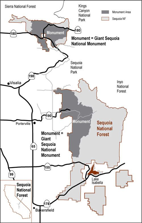 Giant Sequoia National Monument area map (monument currently closed due to Rough Fire)