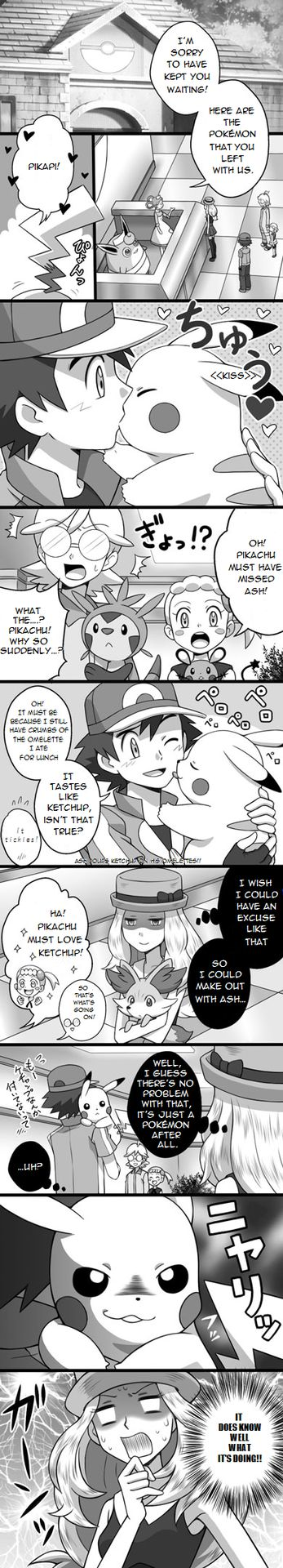 this is a little uncomfatable that pikachu is kissing ash on the lips not the cheek or a huge hug but i do enjoy the fact that he wont let her get near him >:)