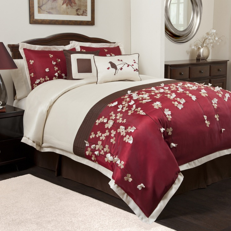 pretty red and brown bedding bedroom
