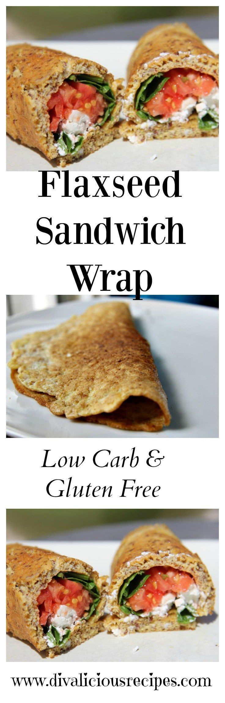 A low carb and gluten free sandwich wrap made from flaxseed flour. A healthy option for lunch too. Fill with low carb options. Recipe: http://divaliciousrecipes.com/2012/03/07/sandwich-wrap-low-carb-g (Gluten Free Recipes For Diabetics)