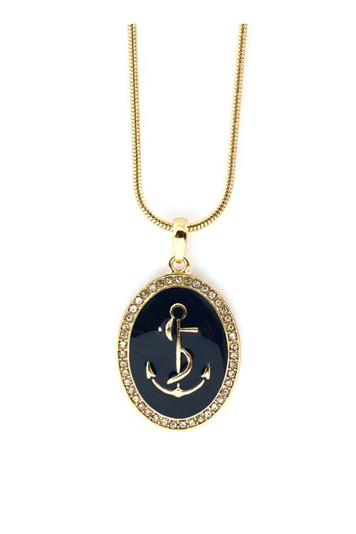 Nautical Cameo Pendant in Navy on Emma Stine Limited   GREAT PRICE$34.00