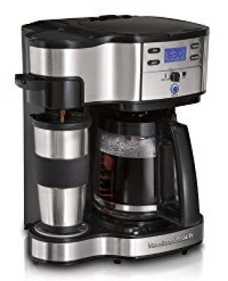 Hamilton Beach Single Serve Coffee Brewer and Full Pot Coffee Maker. Makes a single cup of coffee or a whole pot. Brew strength selector, program coffee brewing time up to 24 hours with 2 hour automatic shutoff.