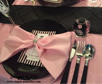 "Designs by Elle would love to help you create the perfect ""Chanel Party""  These CoCo Chanel Inspired Black and Pink Menu Cards would make a GREAT addition to your party and would make an awesome keepsake.  Pink and Black with Chanel Logo.  This is what you will receive.     Menu is 5 x 7 and can be designed to your specifications.  You Select the Heading and give me the information for each section.  Just leave your information in the note area.  A proof will be sent to your email address…"