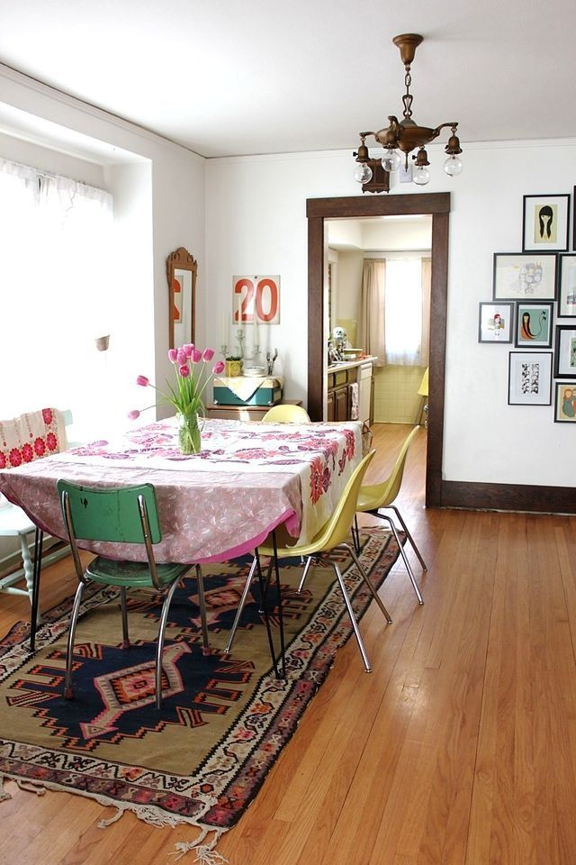 Best 25 yellow chairs ideas on pinterest yellow for Bright dining room ideas