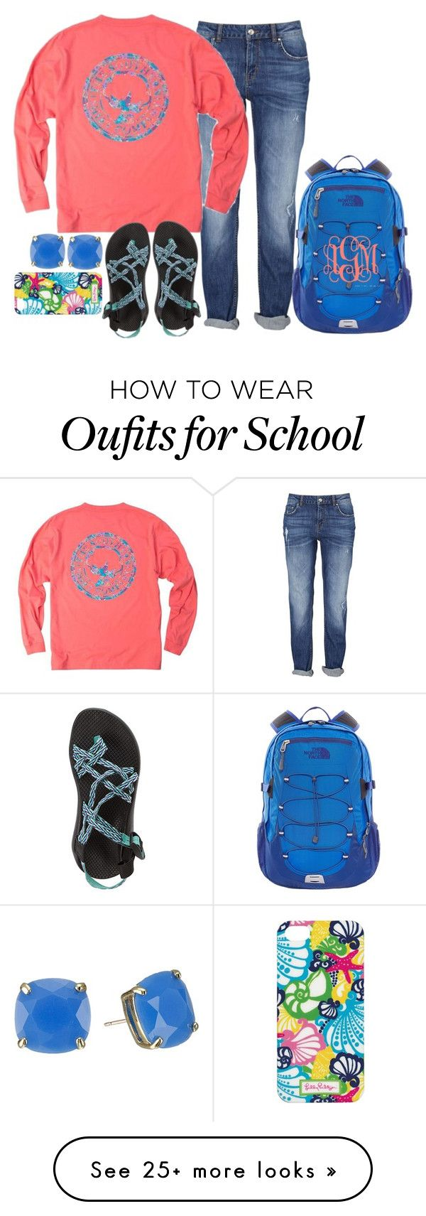 """school today"" by kierstinmoyers on Polyvore featuring Chaco, Kate Spade, Lilly Pulitzer, The North Face, women's clothing, women, female, woman, misses and juniors"