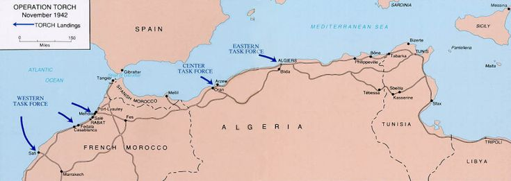 Map of Operation Torch - Wikipedia / Public Domain