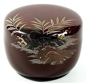 Tea caddy (natsume), reeds and rocks, Japan, 20th c.