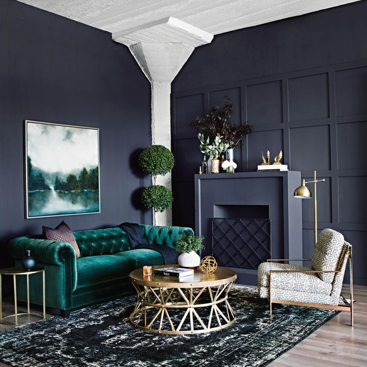 Emerald Tufted Couch In Luxurious Texture Adds The Right Amount Of Softness To Balance Moody Colored Walls