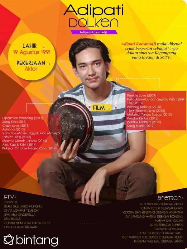 Nama Adipati Dolken tentunya tak lagi asing di telinga pecinta film. Sejak sukses berperan di film Sang Kiai, pria kelahiran 19 Agustus 1991 ini berhasil meraih gelar Pemeran Pendukung Pria Terbaik di ajang FFI 2013. Simak selengkapnya dalam infografis berikut>> #AdipatiDolken #Aktor #CelebBio #Bintang #Indonesia