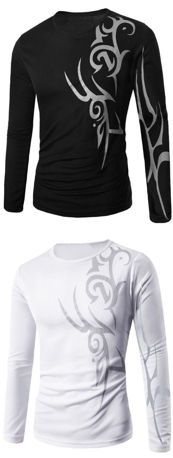 Round Neck Long Sleeve Abstract Pattern T-Shirt