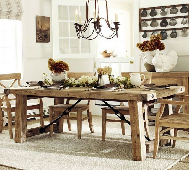 mesa de madeira: Dining Rooms, Reclaimed Wood, Wood Dining Tables, Farmhouse Table, House Ideas, Diningroom, Kitchen Table, Wood Table, Pottery Barn