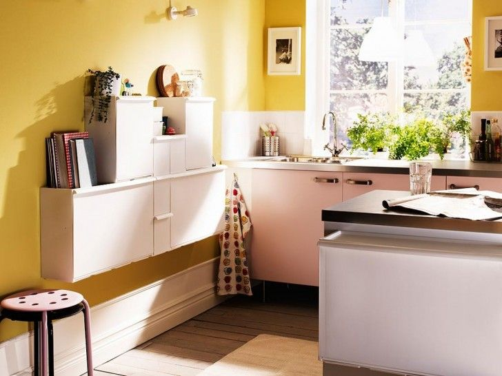 Kitchen. Functional Small Kitchen With Yellow Turmeric Walls Combined Mounted Wall Cabinet And Book Case Also Large Glass Windows Featuring Stainless Faucet In Wooden Plank Flooring  For Ikea Design Online. Outstanding Ikea Design Online for your homes