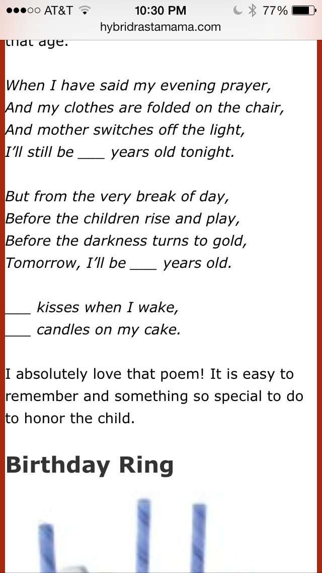 BIRTHDAY - Waldorf birthday rhyme, say the night before birthday
