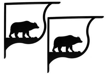 Wrought Iron Bear Shelf Brackets Corner Accent 10in