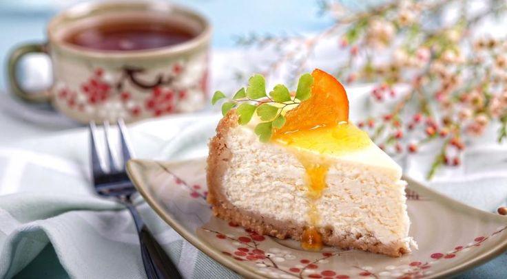 Домашний чизкейк с апельсиновым соусом