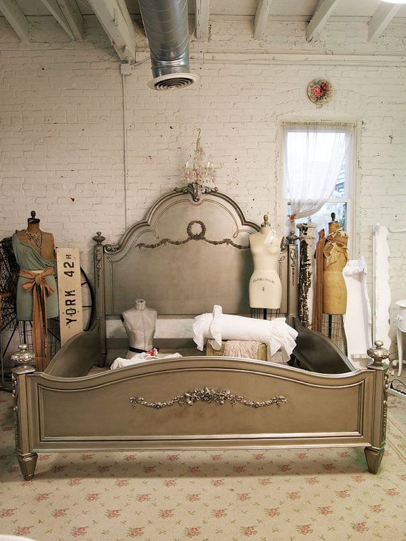 Painted Cottage Chic Shabby Silver Slipper King Romance Bed