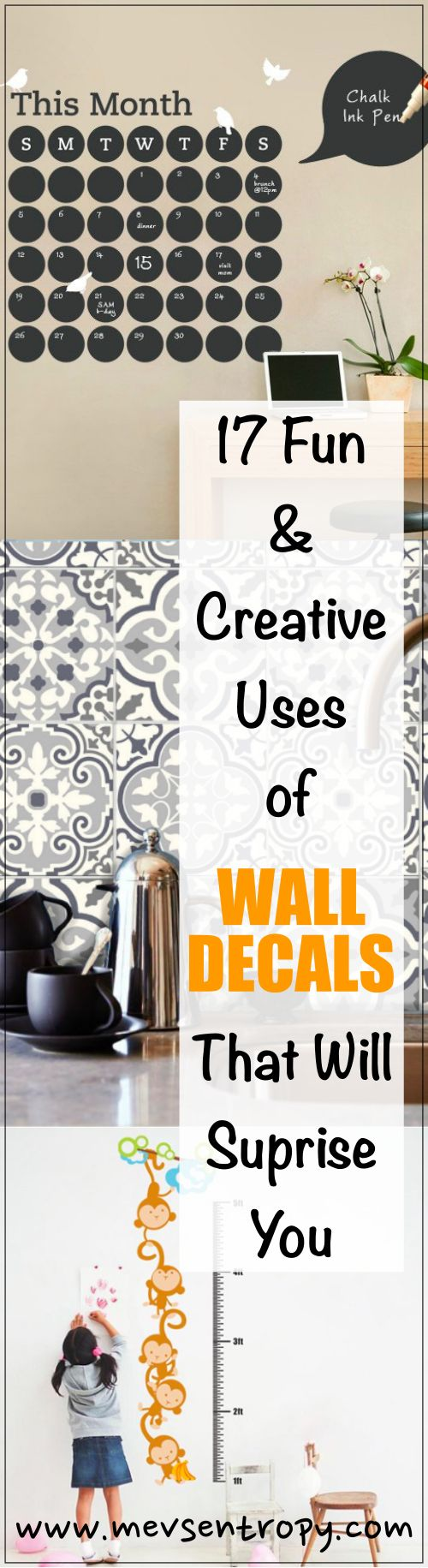 Inspiring, easy, and affordable uses of wall decals.  So many possible uses!
