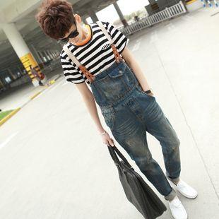 Free Shipping 2013 New Mens Skinny Jean Overalls Blue Suspenders Multi-pocket Bib Pants Holes Denim Trousers