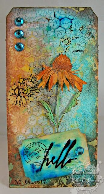 Tim Holtz crackle paste through honeycomb stencil inked background effect.