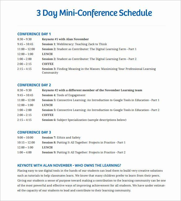 Retreat Schedule Template Inspirational 12 Conference Schedule