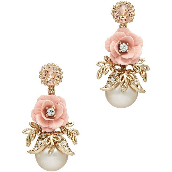 Rental Marchesa Jewelry Blush Spring Meadow Earrings ($10) ❤ liked on Polyvore featuring jewelry, earrings, post earrings, flower earrings, flower jewelry, long earrings and drop earrings