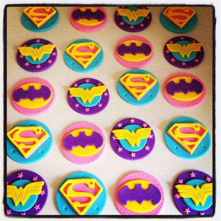 24 x Girlie Superhero Cupcake Toppers - Batgirl, Wondergirl, Wonderwoman, Supergirl by MadAboutCakeToppers on Etsy https://www.etsy.com/listing/249798680/24-x-girlie-superhero-cupcake-toppers