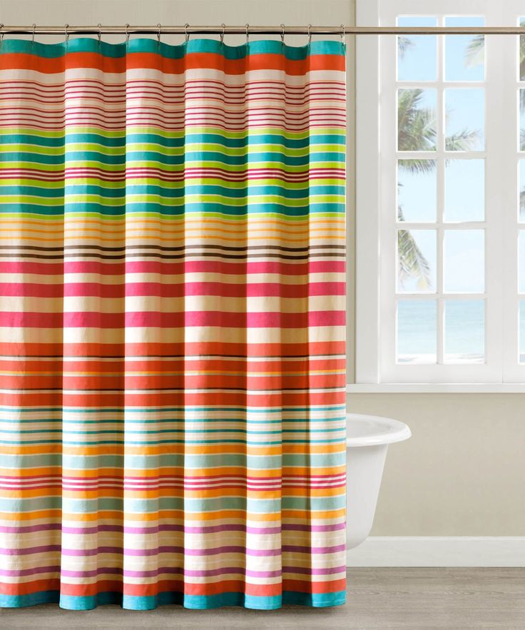 Blue Brown Striped Shower Curtain