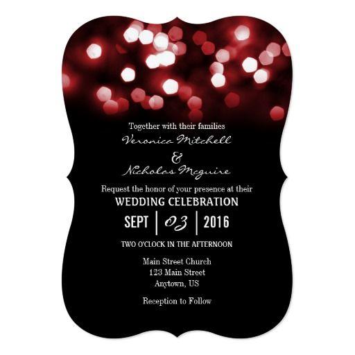 red black bokeh glitter lights wedding invites - Black And Red Wedding Invitations
