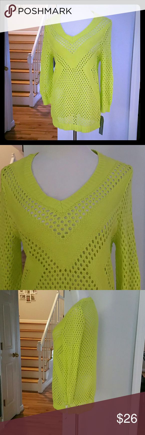 NWT NY COLLECTION SWEATER NWT NY Collection Sweater  Color : Key Lime  Materials : 100% COTTON NY Collection Sweaters V-Necks