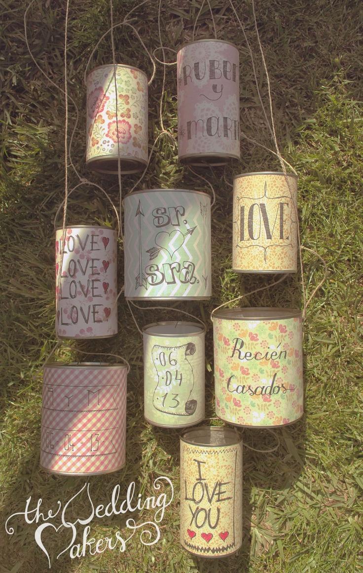 Pretty cans, wedding decor ideas.