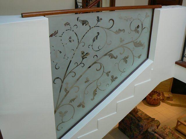 Interior wooden doors design - Sandblasted Glass Balustrades House Pinterest