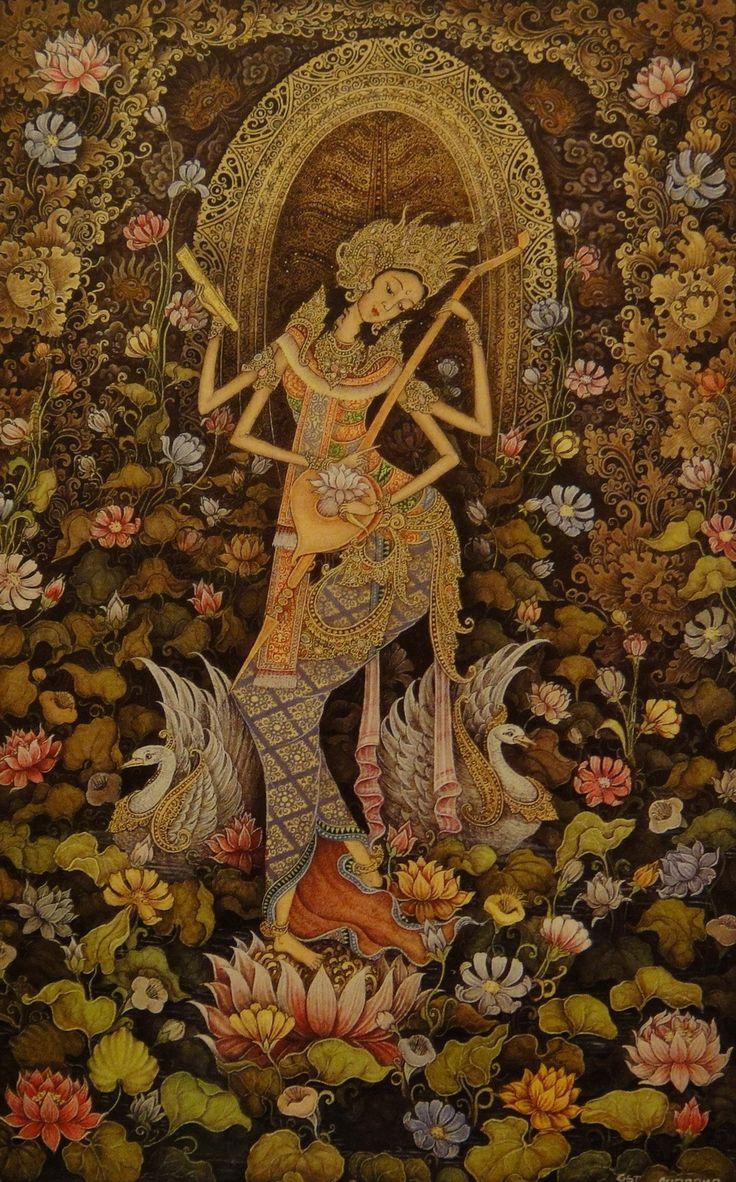 Goddess Saraswathi painted in Balinese style