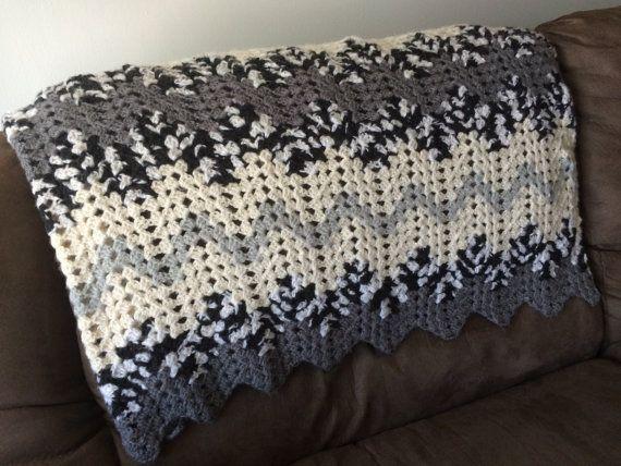 Crochet Afghan, Crochet blanket, knitted blanket, neutral throw blanket, grey, white, black, cream