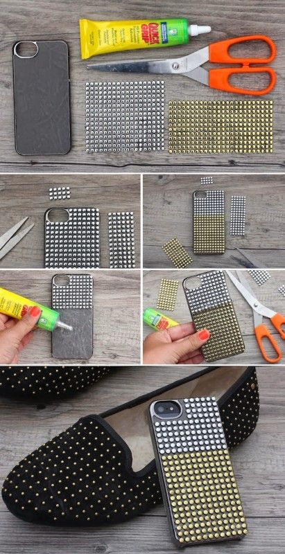 How to Make a DIY Phone Case - 20 Creative Ideas | stud case