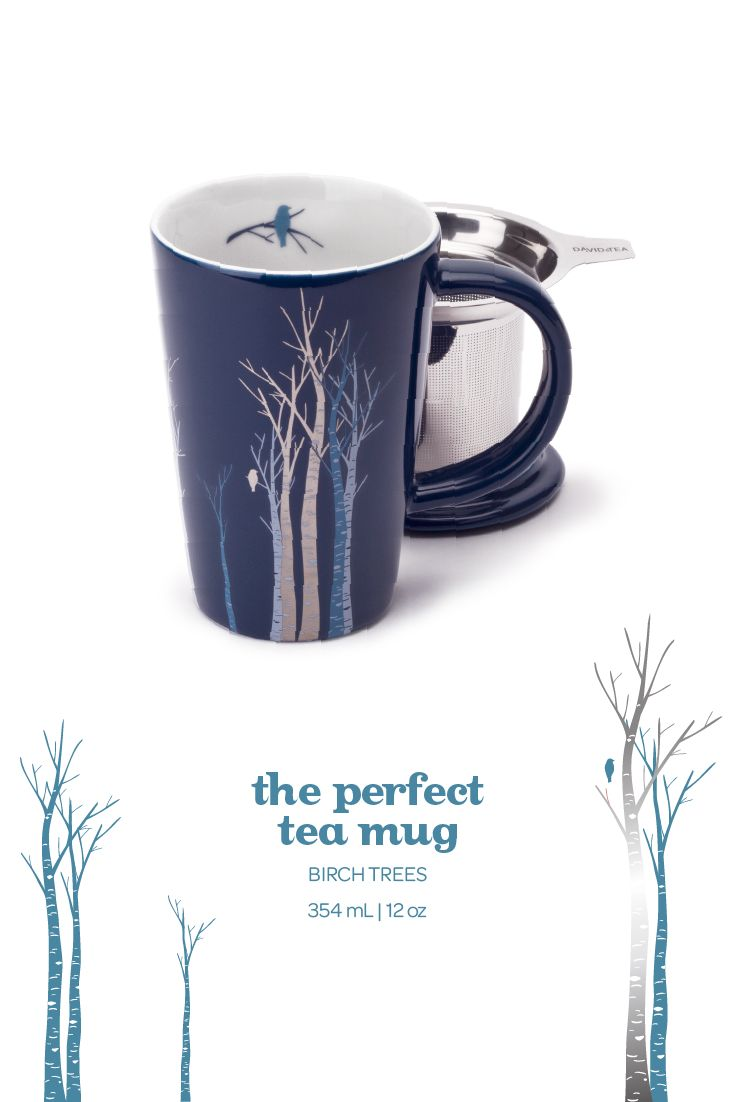 With its elegant navy colour and metallic birch tree print, this infuser mug is a new classic.