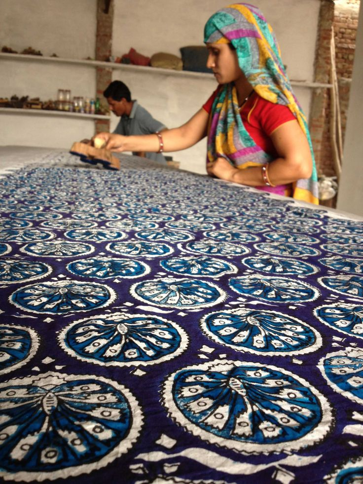 Artisanal women's collectives in India dye and block-print fabrics by hand using ASO-free dyes.