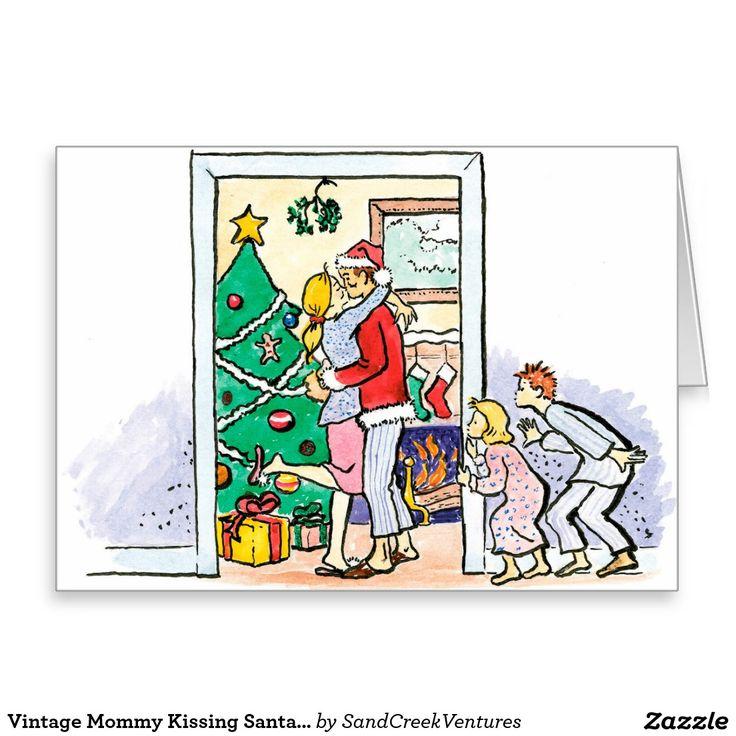 Vintage Mommy Kissing Santa Christmas Greeting Card