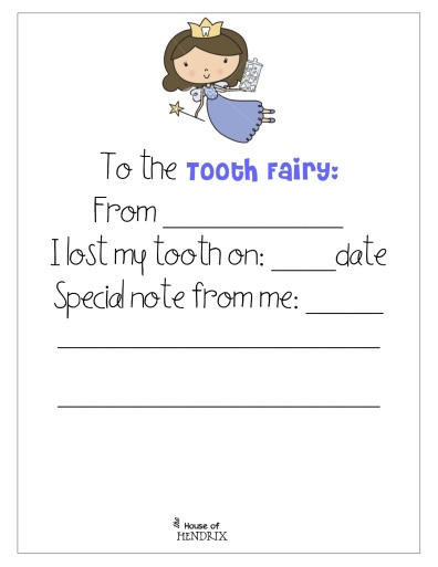Printable note 'To the Tooth Fairy'. Great way to document 'when' each child's tooth was lost. www.thehouseofhendrix.com