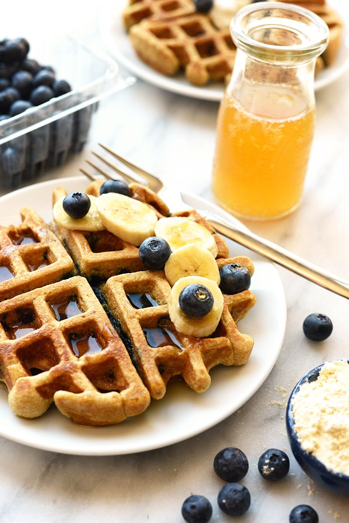 Cook up some healthy blueberry waffles with 100% whole grain flours and no refined sugar or butter. Don't forget to make extra so you can eat waffles all week!