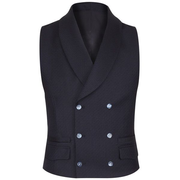 Navy Shawl Collar Waistcoat ($195) ❤ liked on Polyvore featuring men's fashion, men's clothing, men's outerwear, men's vests, mens button sweater vest and mens double breasted vest